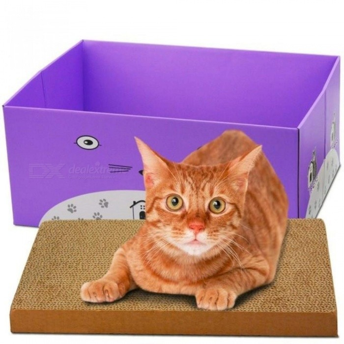 Cat-Scratcher-Cat-Product-Bed-Box-Pet-Products-Couch-Cardboard-Paper-Cat-Toy-Scratching-Pad-3-Colour-Purple-Color-Foldable-Box-ScratchBlue