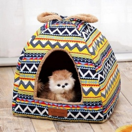 Retro Small Pet Dog Nest House Washable Bed For Cats Puppy Warm Sofas Chihuahua Kennel Basket Couch Mat S/Green