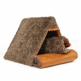 Pet-Dog-Cat-Bed-Soft-Warm-Cushion-Furniture-Cushion-Triangle-Warm-Kennel-Cough-Twist-Flower-Velvet-Material-MBrown