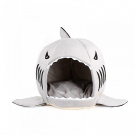 Warm Cute Dog Bed Shark Mouth Pet Dog Kennel Cat Bed Removable Washable Cartoon Pet Sofa Couch Bed Kennel S/shark
