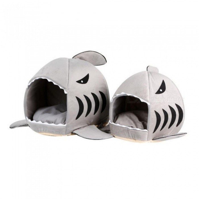 Warm Cute Dog Bed Shark Mouth Pet Dog Kennel Cat Bed Removable Washable Cartoon Pet Sofa Couch Bed Kennel