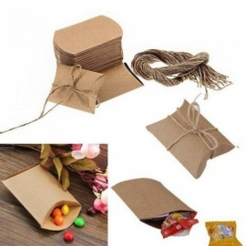 50PCS Cute Kraft Paper Pillow Favor Box Wedding Party Favour Gift Candy Boxes Home Party Birthday Supply 50pcs