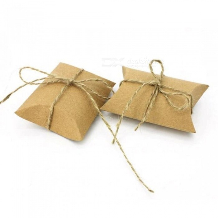 50PCS Cute Kraft Paper Pillow Favor Box Wedding Party Favour Gift Candy Boxes Home Party Birthday Supply