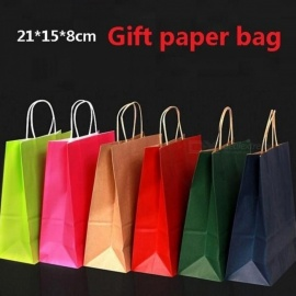 Gift Kraft Paper Bag With Handles Dark Color/ Multifunction  21x15x8CM Festival Gift Bag Wedding Party/ 40PCS/Lot  Red