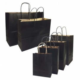Gift Bags With Handles Multi-function Black Paper Bags 6 Size Recyclable Environmental Protection Bag 10PCS/Lot 27x21x11