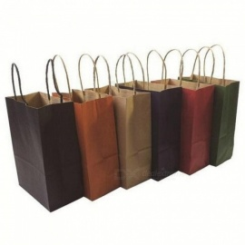 Fashionable Kraft Paper Gift Bag With Handle/shopping Bags/christmas Brown Packing Bag 21X15X8CM 40PCS Red