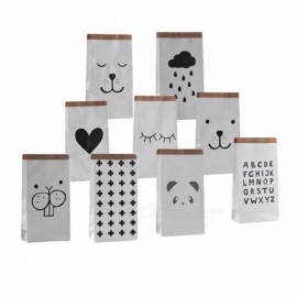 Cartoon Heavy Kraft Paper Storage Bag Pouch Pack Kid Toy Laundry Clothing  Sundries Organizer Home Decor Gift  Letter