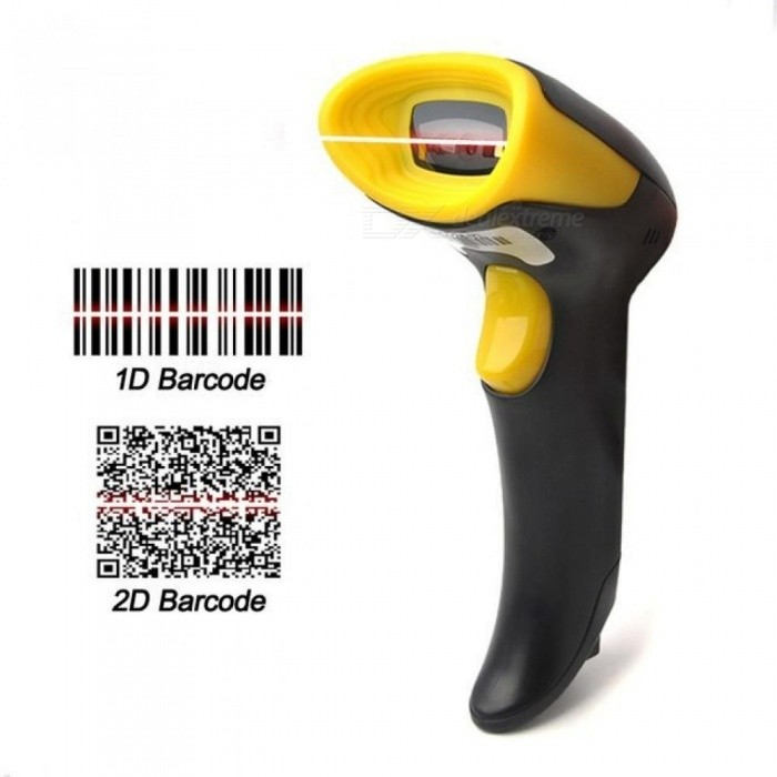 2D-Barcode-Scanner-Wired-Plug-And-Play-With-USB-Cable-Support-EAN-PDF417-Code-128-UPC-Code-Reader-BlackampYellow-Color-Black