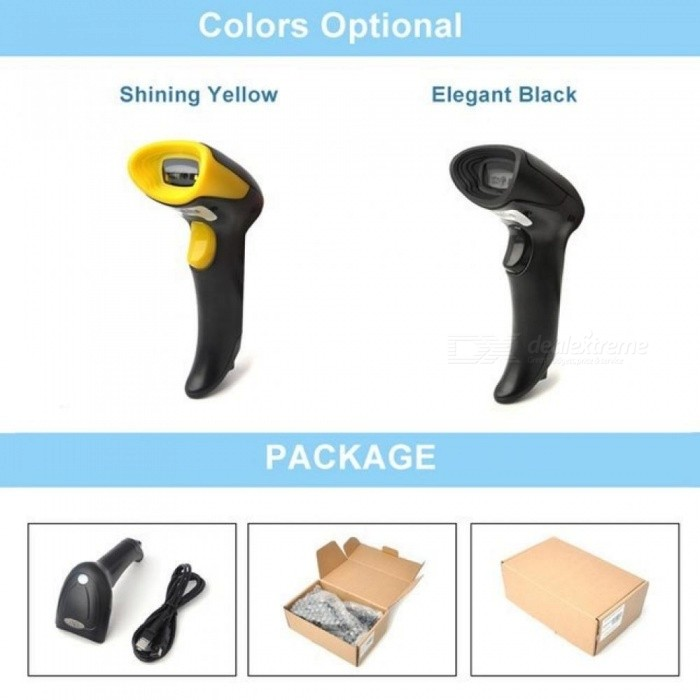 2D Barcode Scanner Wired Plug And Play With USB Cable Support EAN PDF417 Code 128 UPC Code Reader Black&Yellow Color