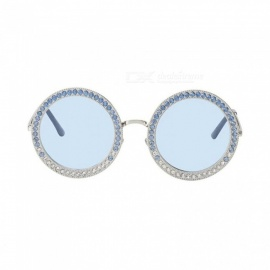 Women Round Crystal Sunglasses Brand Designer Luxury Rhinestone Sunglasses Shades Pink&Blue Color Optional Pink