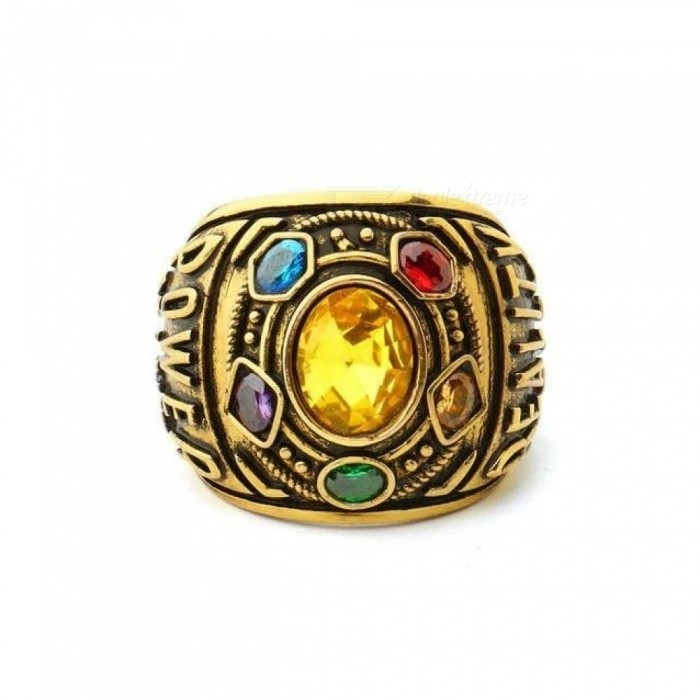 Infinity Gauntlet Power Ring AvengersInfinity War Thanos Jewelry Hand Stamped Letter Ring with Crystals For Men
