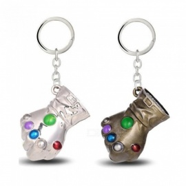 Movie Game Gifts Jewelry Thanos Infinity Gauntlet Keychain Metal Key Rings Chaveiro Keychain Jewelry 2 Colors Silver