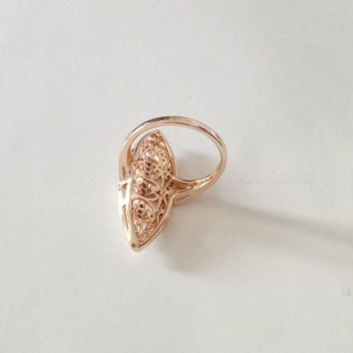 Gold Women Rings Natural Stone Filled Leaf  Wedding Fashion Jewelry Vintage Long Infinity Gold 585 Women Ring