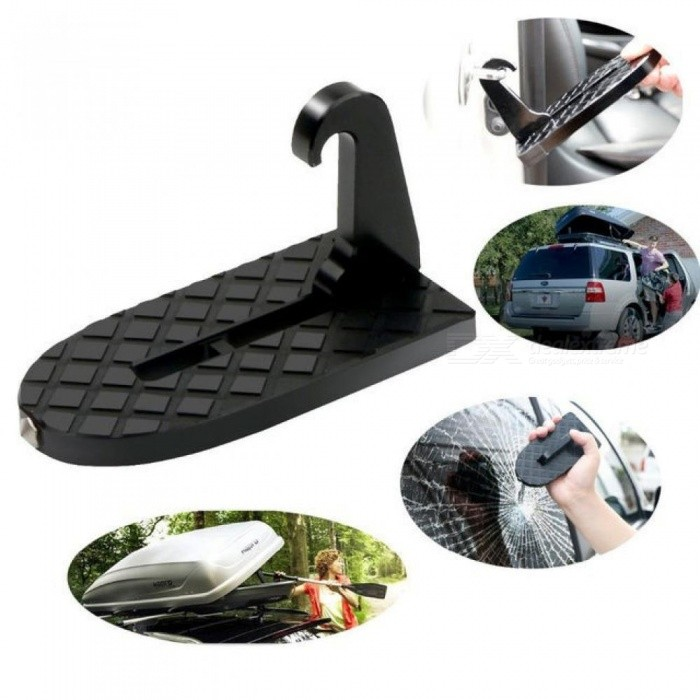 Moki-U-Shaped-Slam-Latch-Doorstep-with-Safety-Hammer-Function-for-Easy-Access-to-Car-Rooftop-Roof-rackDoorstep-for-Car-Black