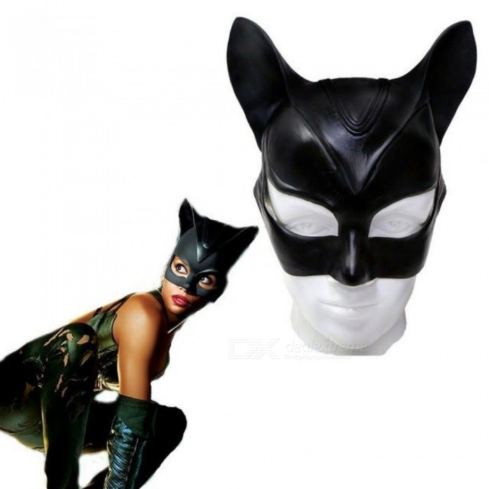Halloween Stage Cosplay Sexy Batman Cosplay Costume Catwoman Mask Headgear Black Half Face Latex Mask Cosplay Party Mask