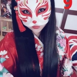 Japanese Private Custom Wind Fox Mask Painted Cat Natsume's Book Of Friends Pulp Fox Half Face Mask Cosplay Halloween DIY 5