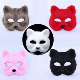 Plastic Villus Arctic Fox Mask Cosplay Party Upper Half Face Halloween Masks Cat Masquerade Party Masks Black