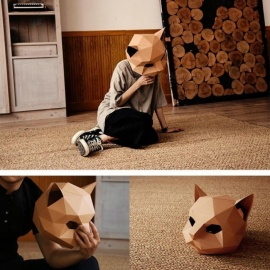 Cat Mask DIY Creative Handwork Halloween Mask Paper Matrix Cosplay 3D Animal Head Mask Party Decoration Photo Prop  Coffee