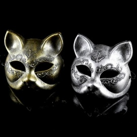 Old-Fashioned Gold And Silver Color Plastic Material Women Disguise Masquerade Cat Upper Half Face Masks Gold