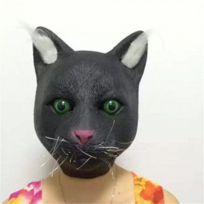 Black Novelty Deluxe Natural Latex Rubber Halloween Full Mask Carnival Easter Party Costume Cat Head Realistic silicone Masks