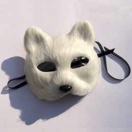 Mask Anonymous Animal Party White Plastic Villus Arctic Fox Mask Cosplay Party Upper Half Face Halloween Masks Cat,Masquerade White