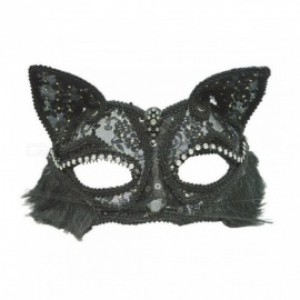 19*8cm Sexy Lace Cat Face Mask PVC Fox Half Face Masks Women Venetian Masquerade Ball Party Mask Performance Fun Masks White