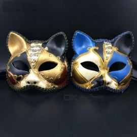 Sexy Retro Italy Venetian Style Masquerade Mask Handmade Cosplay Cat Half Face Prom Ball Shows Party mask For Men Women Black Gold