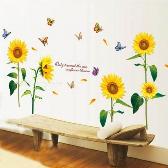 Sunflower Wall Stickers Living Room Decorations Diy Home Decoration Home Decals Mural Arts Poster 1 Set