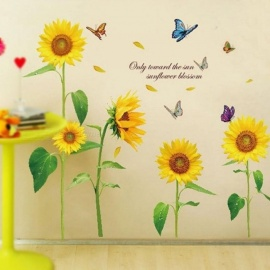 Sunshine Sunflower Butterfly Dancing in Summer Removable Wall sticker DIY Kids Child Room Decor Decal LM858 (90* 60cm) 90*60cm