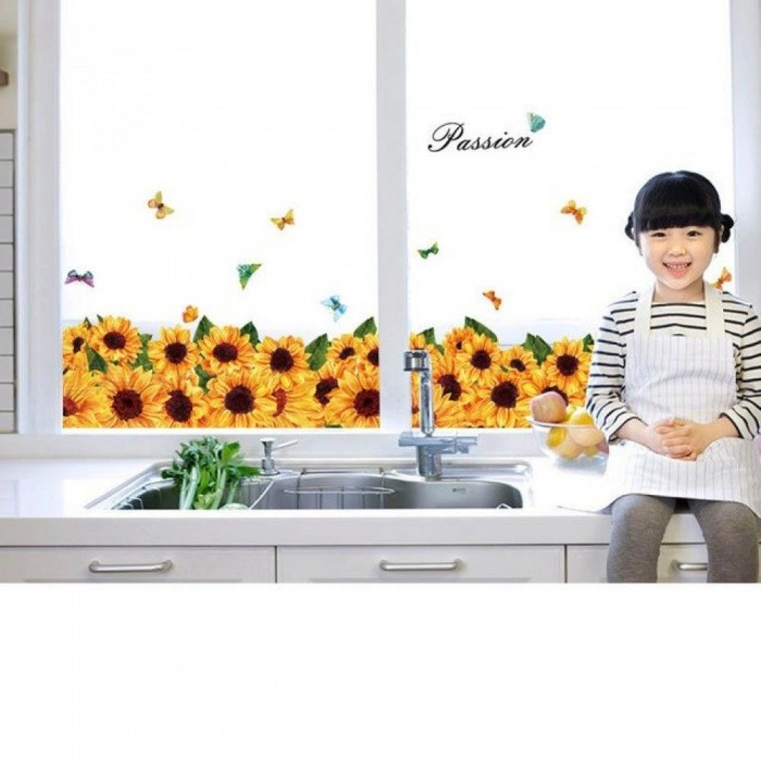 Fashion Wall Stickers PVC Sunflower For Wardrobe Window Bedroom Study Room Sofa/TV Background Art Decals Home Decoration