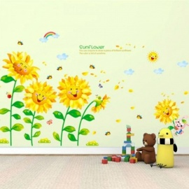 Removable Sunflower Wall Sticker Creative Turnsoles Wall Decals DIY Flowers for Living Room Kids Room Decoration Yellow