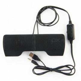 Mini Laptop Speaker Clip-on Soundbar USB Stereo Speakers Wired Line Controller Music Players for Notebook Phone iPad PC Black
