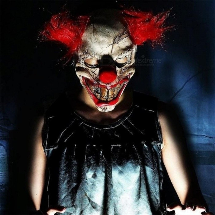 Buy Joker Scary Costume Latex Cosplay Mask Hair Clown It Halloween Party Elm Street Size For 63CM For Adult A with Litecoins with Free Shipping on Gipsybee.com