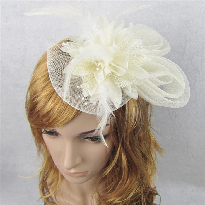 Buy Women Chic Fascinator Hat Cocktail Wedding Party Church Headpiece Fashion Headwear Fancy Feather Hair Accessories Light Blue with Litecoins with Free Shipping on Gipsybee.com