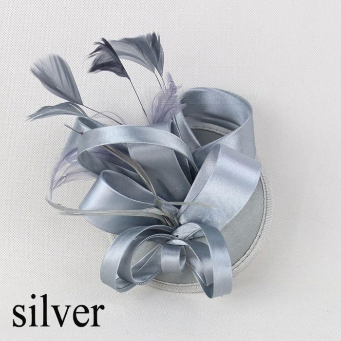 Fashion Feather Satin Fascinator Hat Hair Clip Women Cocktail Wedding Party Bridal Hat Fascinator Ladies Dress Hair Headband