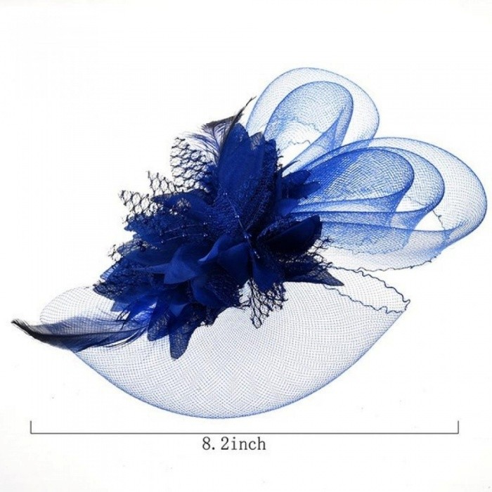 Flower Feather Hat Hair Grip Hair Pins Fascinator Hair Accessories Headpiece Hair Clips For Women Party Wedding Festival