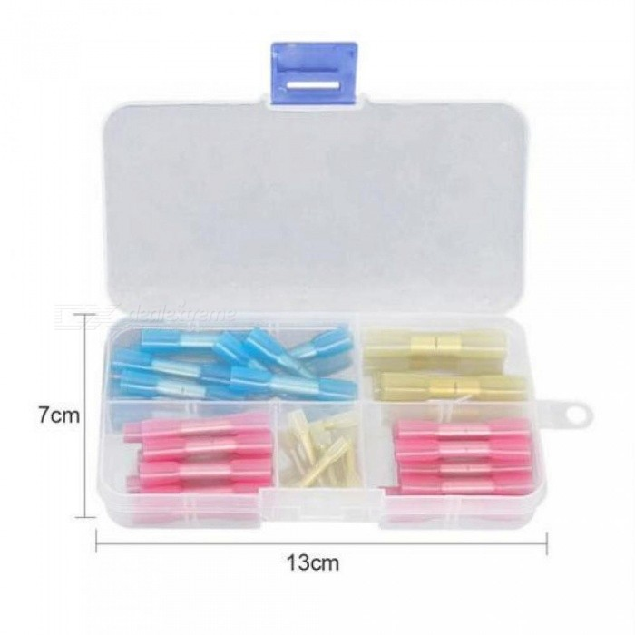 50/100/120pcs Waterproof Solder Seal Heat Shrink Butt Connectors Heat Shrink Tube Connector with Box Plastic