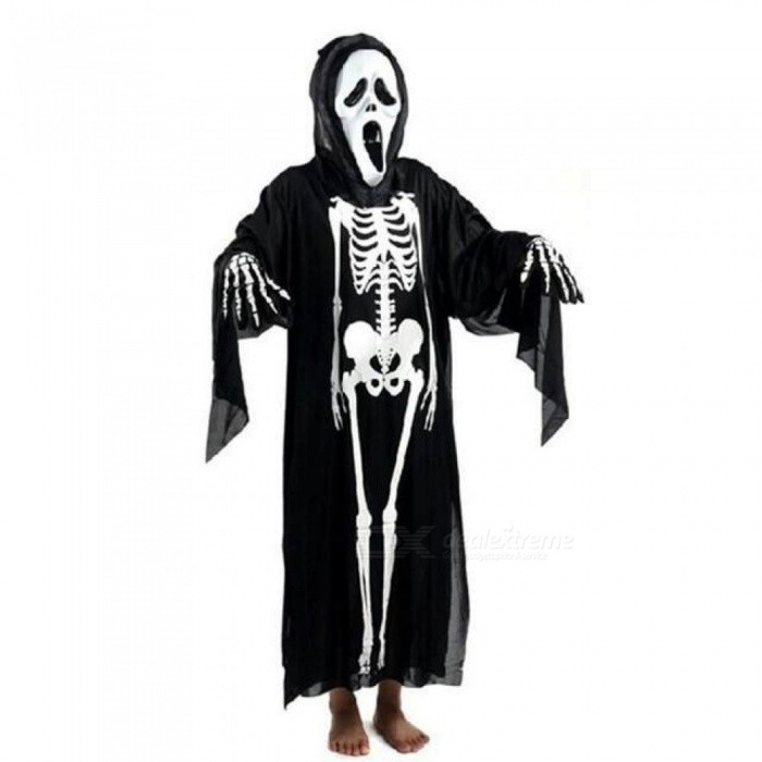 Halloween Skull Skeleton Ghost Clothes & Screaming Ghost Mask Masquerade Costume Cosplay Props Set For Adults (Black)