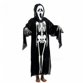 Halloween-Skull-Skeleton-Ghost-Clothes-and-Screaming-Ghost-Mask-Masquerade-Costume-Cosplay-Props-Set-For-Adults-(Black)-Black