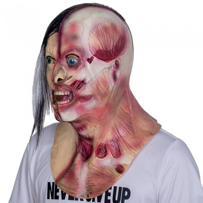 Horrible Screaming Zombie Full Face Mask With Chest Latex Overhead Bloody Villain Joke Mask For Adult