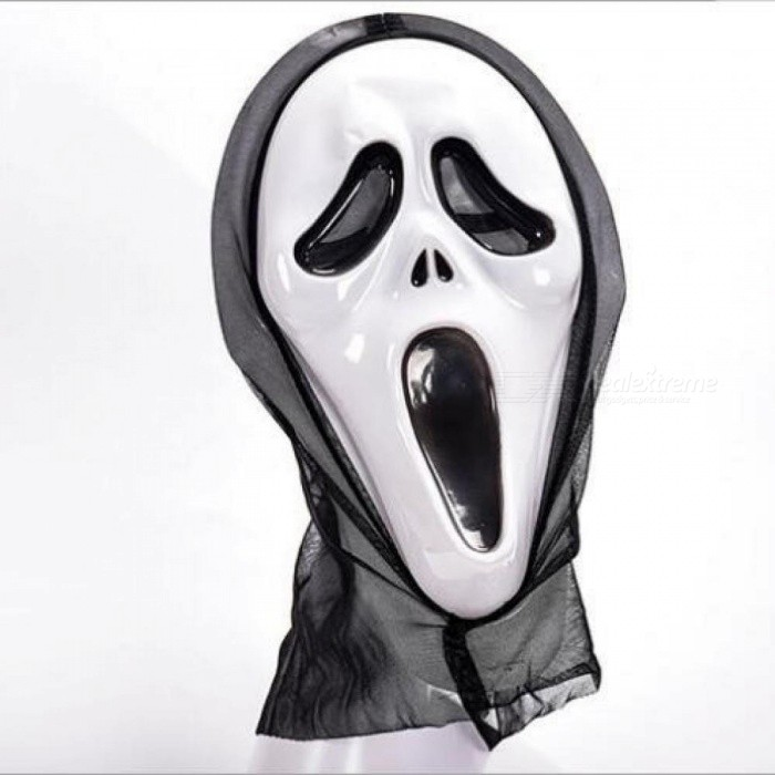 Buy Halloween Scary Mask Skull Ghost Scary Scream Full Face Mask Masquerade Party Dress Adult Costume Party Cosplay Festival Black with Litecoins with Free Shipping on Gipsybee.com