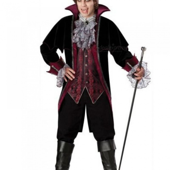 Adult-Mens-Classic-Halloween-Party-Dracula-Vampire-Costumes-Outfit-Fancy-Devil-Cosplay-Dresses-With-Hat-CastlevaniaMBlack
