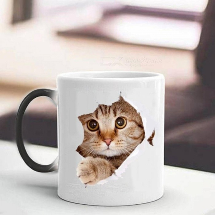 Cute Cat Mug 350ml Heat Reveal Mug Ceramic Color Changing Coffee Mugs Magic Tea Cup Best Gift For Your Friends