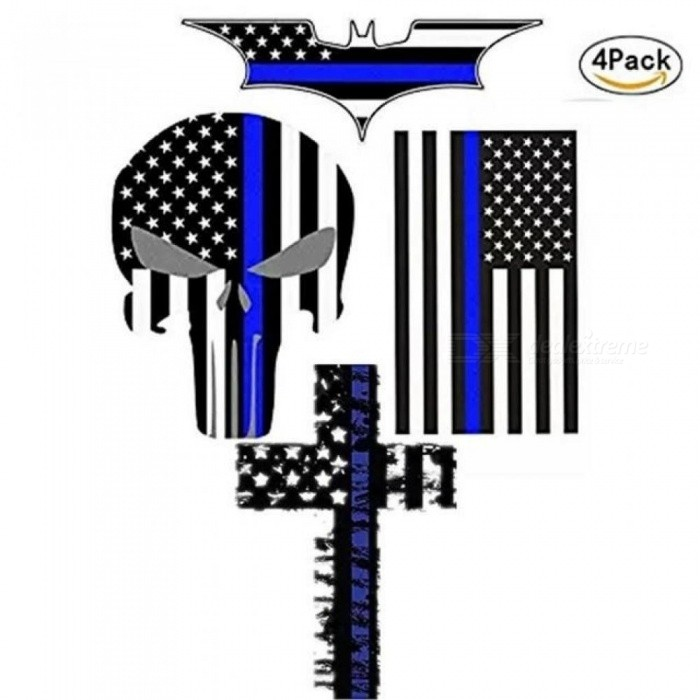 Car Sticker And Decal Blue Line US Flag Punisher Skull Dark Night Decals American USA Flag Vinyl Stickers Motorcycle Car Styling