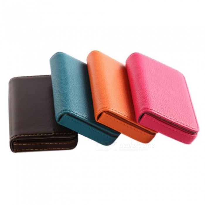 Pocket PU Leather Business ID Credit Card Holder Case Wallet Office School Supplies Creative New Year Gift 96*65*15mm Black
