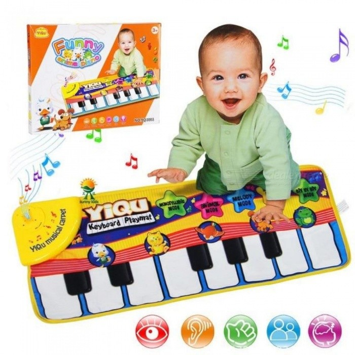Large Baby Musical Carpet Keyboard Playmat Music Play Mat Piano Early Learning Educational Toys for Children Kids Puzzle Gifts Yellow