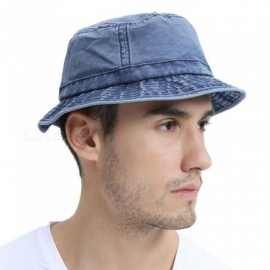 Cotton-UV-Protection-Bucket-Hat-For-Men-Summer-Boonie-Hunting-Fishing-Fisherman-Hats-Travel-Japanese-Sun-Cap-57-58cmNavy