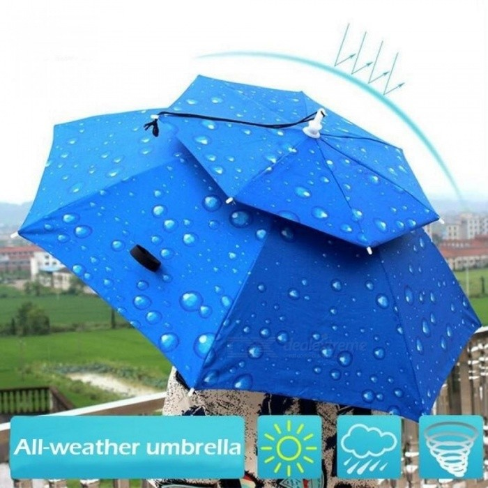 Buy Outdoor Large Double Layer Fishing Umbrella Hat Cycling Hiking Camping Beach Sunshade Sunny Rainy Anti-UV Cap For Men Women Kids M/Blue with Litecoins with Free Shipping on Gipsybee.com