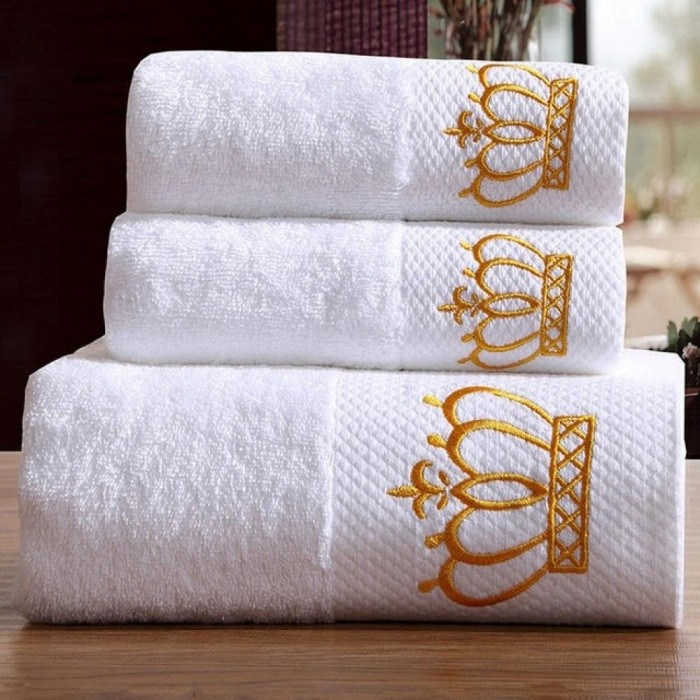 5 Star Hotel Luxury Embroidery White Bath Towel Set 100% Cotton Large Beach Towel Brand Absorbent Quick-drying Bathroom Towel 3pcs Bath Towel Set/Crown