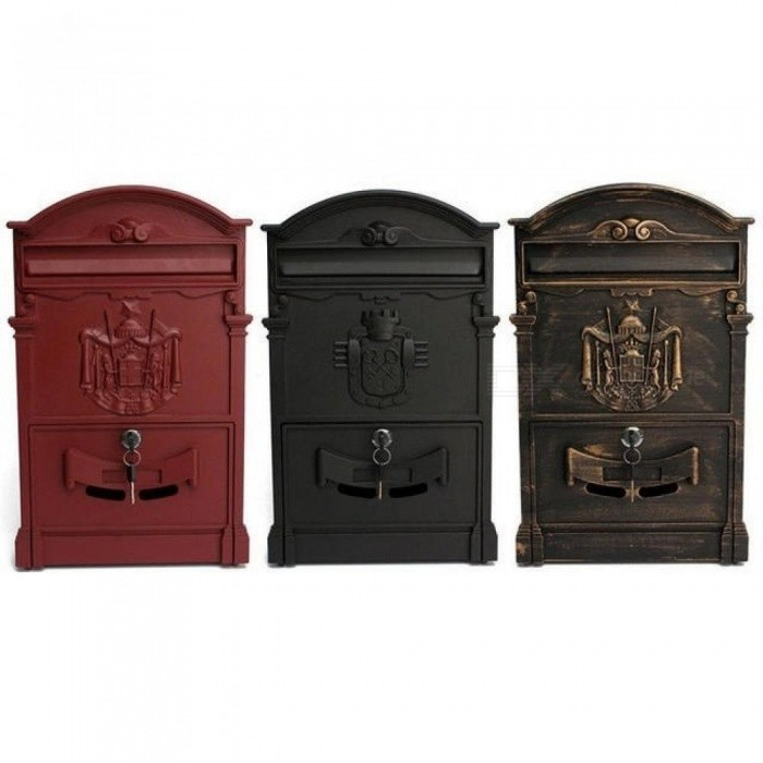 Retro-Mailbox-Villas-Post-Box-European-Lockable-Outdoor-Wall-Newspaper-Boxes-Secure-Letterbox-41x25x8cm-Garden-Home-Decoration-Red